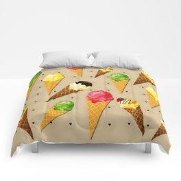 Ice cream hearts-Beige Comforters