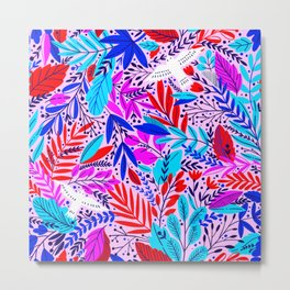 Colorful Tropical Sunset Exotic Floral Pattern Metal Print