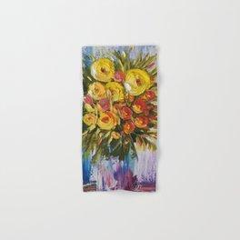Bright Flowers Painting, Yellow Flowers artwork, floral art Hand & Bath Towel