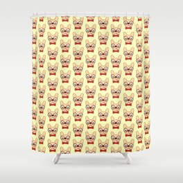 Preppy Frenchie is ready for school with his new bow tie Shower Curtain