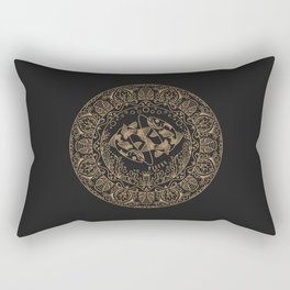 Pisces Zodiac Mandala - Gold on Charcoal Rectangular Pillow