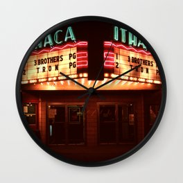 Night Lights Ithaca Theater Wall Clock