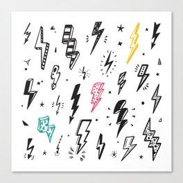 Lightning Bolts vintage Set. Hand Drawn Doodle Lightning Bolt Signs, Thunderbolts, Energy Thunder bolt, Warning Symbol illustration Canvas Print