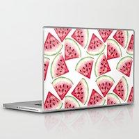 vegetarian Laptop & iPad Skins featuring Watermelon pattern by Julia Badeeva