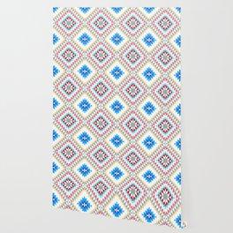 Colorful patchwork mosaic oriental kilim rug with traditional folk geometric ornament Wallpaper