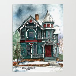 Blue House on a Grey Day Poster