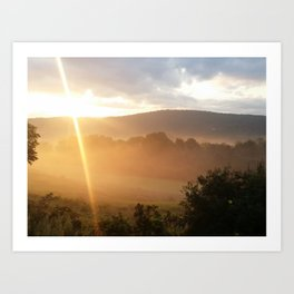 Sunrise Over a Mountain Art Print