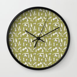 Kitten Love - Olive Green Wall Clock