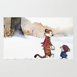 calvin hobbes snow Rug