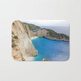 Navagio Beach with Shipwreckon Zakynthos Island, Greece Bath Mat