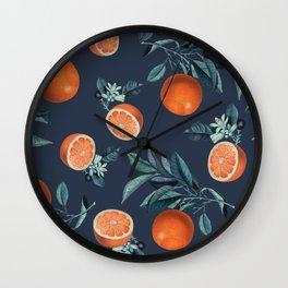 Lemon and Leaf Pattern VI Wall Clock