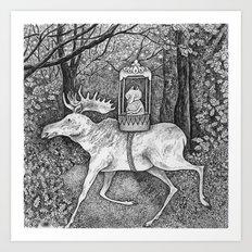 Fox riding moose Art Print