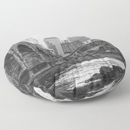 Minneapolis Skyline Black and White Floor Pillow