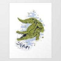 crocodile Art Prints featuring Crocodile by Sam Jones Illustration