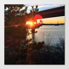 Winter Sunset/Sunburst Behind Casco Bay Bridge in South Portland, Maine Canvas Print