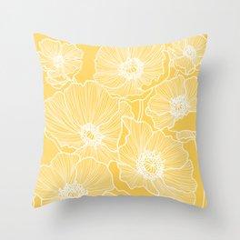 Sunshine Yellow Poppies Throw Pillow