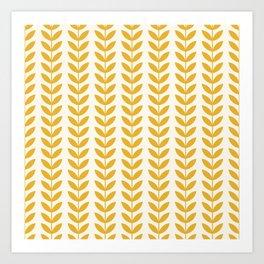 Scandinavian Mid Century Pattern Yellow Art Print