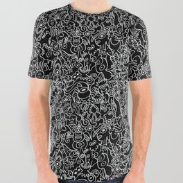 Pattern design crowded with terrific doodles All Over Graphic Tee