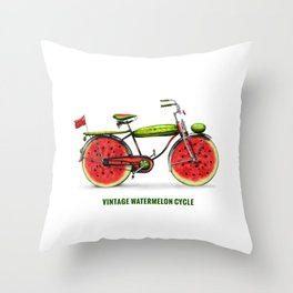 ORGANIC INVENTIONS SERIES: Vintage Watermelon Bicycle Throw Pillow