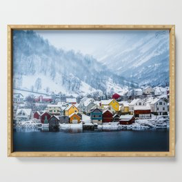 A Small Town in Norwegian Fjords Serving Tray