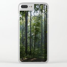 Green forest shrouded the sun. Clear iPhone Case