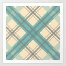 Teal Pastel Plaid Art Print