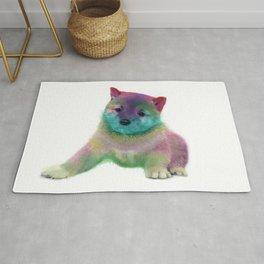 Colorful Rainbow Puppy Dog Art by Daniel MacGregor Rug