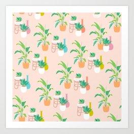 Cute tropical plant pattern on peach Art Print