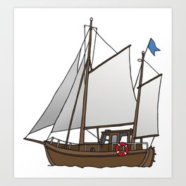 Sailing boat cutter Art Print