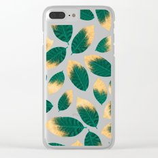 Gold Painted Leaf Pink Clear iPhone Case