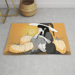 the gigantic witch and the little fairy Rug