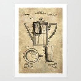 Coffee Pot Blueprint Art Print
