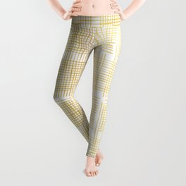 Luxe Gold Criss Cross Weave Hand Drawn Vector Pattern Background Leggings