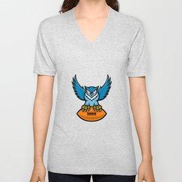 Great Horned Owl American Football Mascot Unisex V-Neck