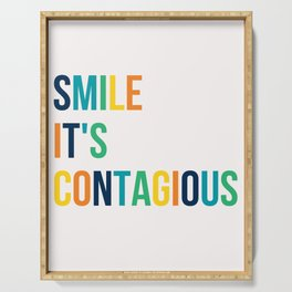 SMILE IT'S CONTAGIOUS colorful motivational typography Serving Tray