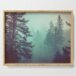 Forest Fog Fir Trees Serving Tray
