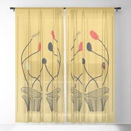 Warm Flowers in Bloom Sheer Curtain