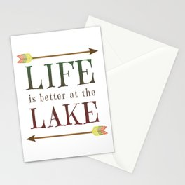 Life Is Better At The Lake - Summer Camp Camping Holiday Vacation Gift Stationery Cards