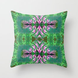 Futuristic Floral in Spring Green and Fresh Bloom Throw Pillow