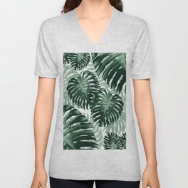 Tropical Monstera Jungle Leaves Pattern #1 #tropical #decor #art #society6 Unisex V-Neck