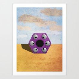 Purple Hexagon Monster Art Print