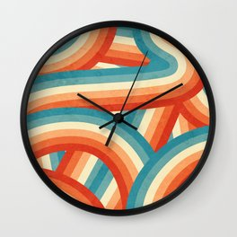 Red, Orange, Blue and Cream 70's Style Rainbow Stripes Wall Clock
