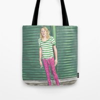 hot pink Tote Bags featuring Ariel Pink: Hot Pink! by Jaime Cartwright