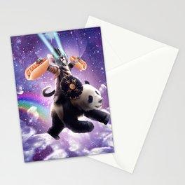 Lazer Warrior Space Cat Riding Panda With Hotdog Stationery Cards