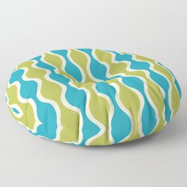 Classic Retro Ogee Pattern 852 Turquoise and Olive Floor Pillow