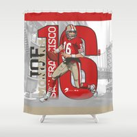 nfl Shower Curtains featuring NFL Legends: Joe montana 49ers by Akyanyme