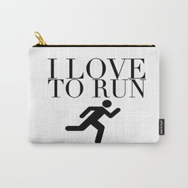 I Love to Run with Running Stick Figure in Black Carry-All Pouch
