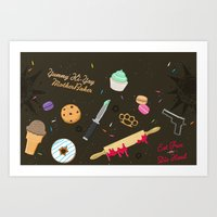 die hard Art Prints featuring Die Hard Desserts by Ashley Hay