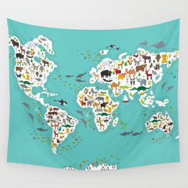 Cartoon animal world map for children and kids, Animals from all over the world Wall Tapestry