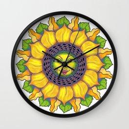 Sunflower Sunshine Girl by Amanda Martinson Wall Clock